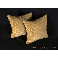 Lee Jofa Groundworks Saldanha Decorative Velvet Pillows in Gilt