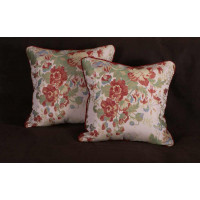 Custom Accent Pillows - Lee Jofa Camille Lampas in Meadow