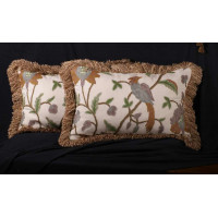 Hand-woven G.P.J. Baker Crewel with Brunschwig Velvet Luxury Pillows