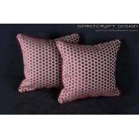 Baker Milton Weave Velvet in Cranberry - Luxury Decorative Pillows
