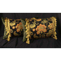 Bergamo Floral Woven and Clarence House Velvet Designer Pillows