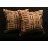 Modern Designer Woven Fabric with Clarence House Velvet Decorative  Pillows