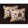 Handmade Thorpe Crewel Fabric - Lee Jofa Velvet Elegant Throw Pillows