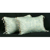 Schumacher Silk Italian Brocade with Lee Jofa Trim - Elegant Pillows