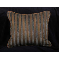 Italian Cut Velvet Stripe with Lee Jofa Linen Velvet Throw Pillows