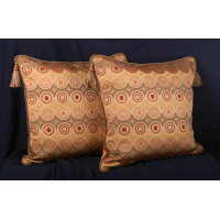 Modern Woven Circles Brunschwig and Fils Velvet Designer Pillows