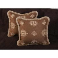 Kravet Couture Embroidery and Lee Jofa Antique Velvet Accent Pillows
