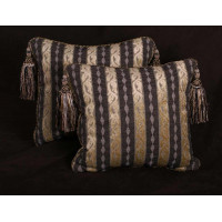 Custom Pillows - Kravet Design Stripe - Lee Jofa Linen Velvet