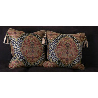 Leopardo Damask Decorative Pillows | Brunschwig Velvet | 22 Inches
