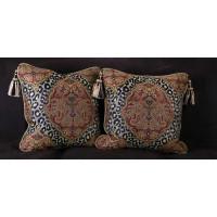 Leopardo Damask Decorative Pillows | Brunschwig Velvet | 22 Inches