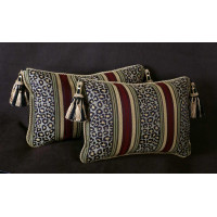 Custom Made Decorative Pillows in Leopardo Stripe Brocade