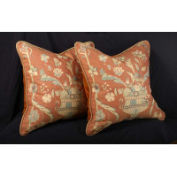 Old World Weavers Lampas - Brunschwig Velvet Accent Pillows