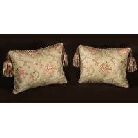 Custom Design Pillows - Lee Jofa Silk Angelina Lampas in Willow
