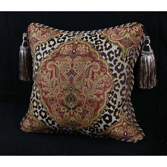 Leopardo Damask Brocade Italian Velvet Single Accent Pillow Amazing Italian Decorative Pillows