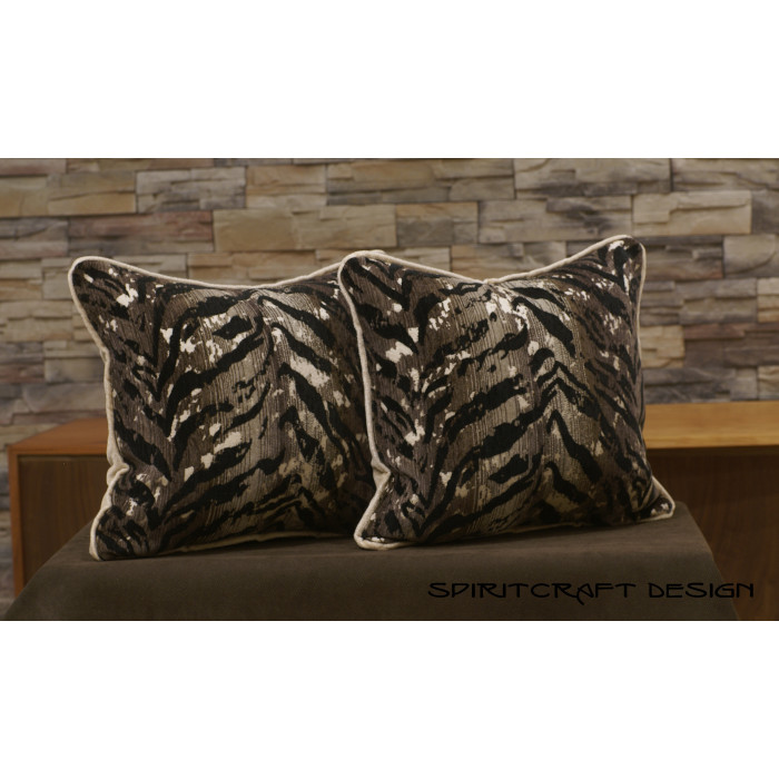 Kravet Tiger Striped Decorative Handcrafted Velvet Pillows Animal Print Unique Cheetah Print Decorative Pillows