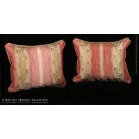 Pure Silk Lisere with Lee Jofa Velvet Two Elegant Pillows in Rose