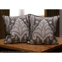 Kravet Design Bansuri Ikat in Slate- Lee Jofa Velvet Decorative Pillows