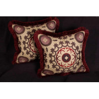 Kravet Tuscan Medallion - Old World Weavers Red Velvet Pillows