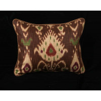 Kravet Design Ikat Print with Clarence House Velvet - Single Pillow