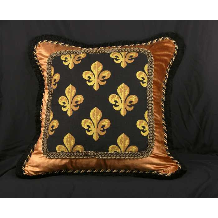 Scalamandre Epingle with Silk and Velvet - Luxury Decorative Pillow