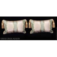Striped Silk Lisere with Lee Jofa Velvet - Designer Pillows
