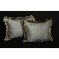 Pollack Silk Brocade with Lee Jofa Linen Velvet - Fringed Designer Pillows