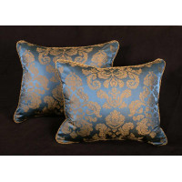 Scalamandre Fortuny Style Silk Damask - Lee Jofa Velvet Accent Pillows