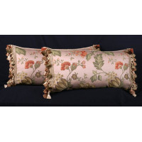 Italian Floral Brocade with Bruschwig Velvet - Elegant Pillows
