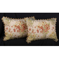 French Floral Brocade with Brunschwig and Fils Velvet Accent Pillows