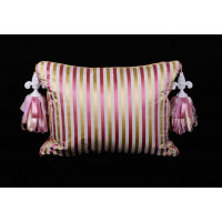 Scalamandre Striped Silk with  Kravet Velvet - Single Decorative Pillow