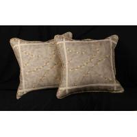 Schumacher Linen Print - Brunschwig Velvet Throw Pillows