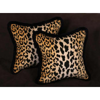 Stroheim Leopard Print Velvet 20 in Decorative Designer Pillows