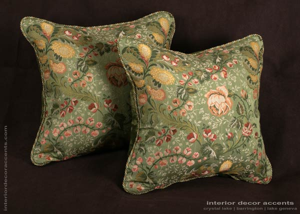 Floral designer brocade decorative throw pillows for traditional and luxurious interior design and home decor accents with Old World Weavers fabric