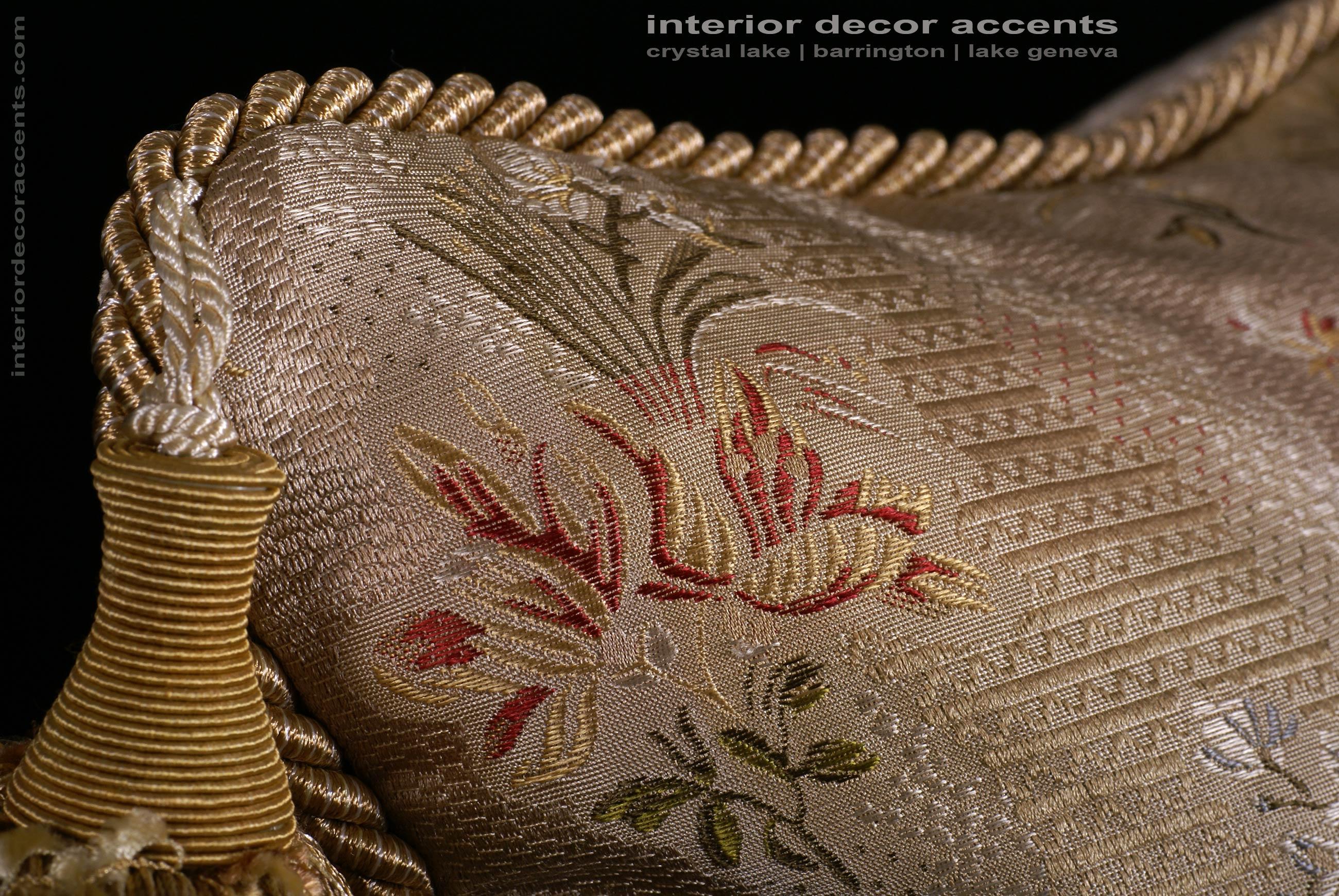 Silk Lampas In Gold With Lee Jofa Velvet Designer Pillows
