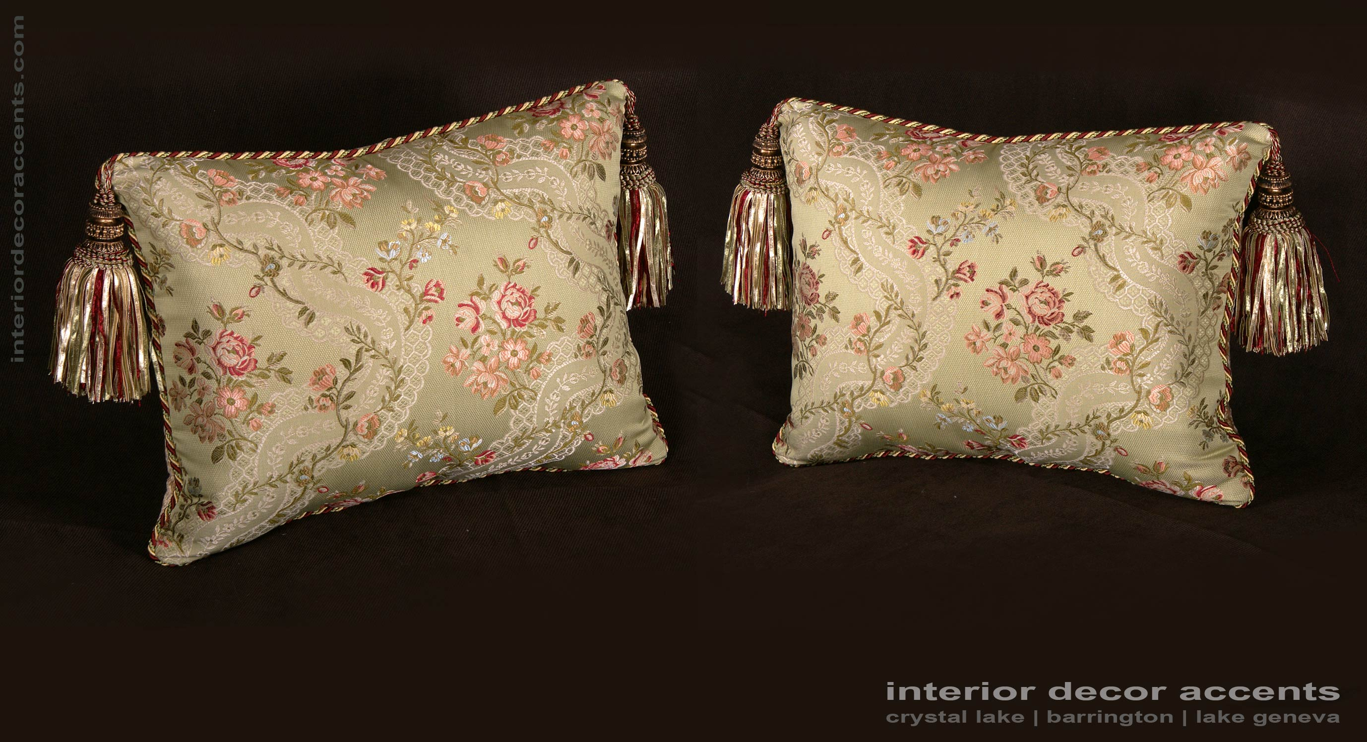 Italian Silk Brocade Decorative Designer Pillows From Lee Jofa Angelina  Lampas Fabric With Kravet Couture Backing