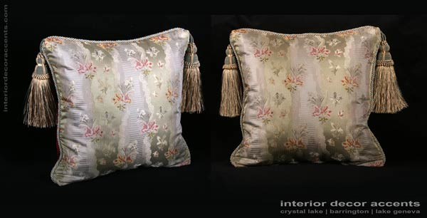 Stunning Lee Jofa elegant sage colored pure silk brocade decorative throw pillows with old world weavers backing velvet for traditional, transitional and decadent interior design and timeless home decor accents