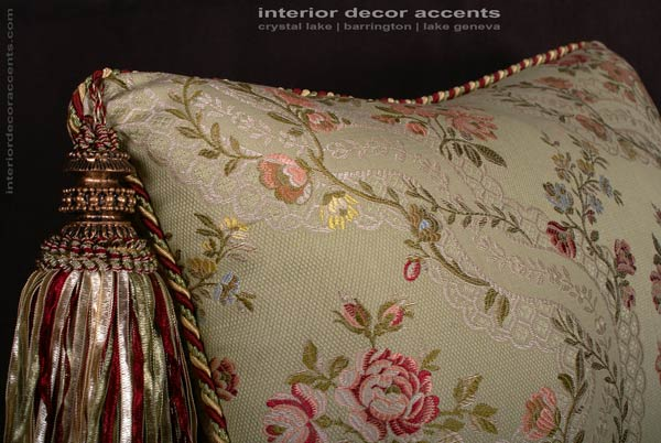 Extravegant Italian silk brocade decorative designer pillows from lee jofa angelina lampas fabric with kravet couture backing velvet for transitional and traditional interior design and elegant home decor accents