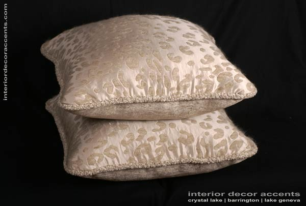 kravet couture silk mohair leopard in decorative corded pillows for traditional transitional contemporary and luxurious interior design and home decor accents