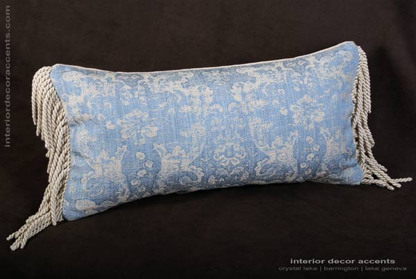 Lee Jofa Ossford Weave single bolster style decorative designer pillow with French woven fabric and Belgian velvet backing for elegant home decor accents