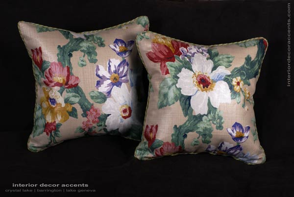 Lee Jofa linen floral print decorative designer pillows with Eric Cohler Jardin Prive and Pollack Sedan Plush velvet for elegant and luxurious home decor accents