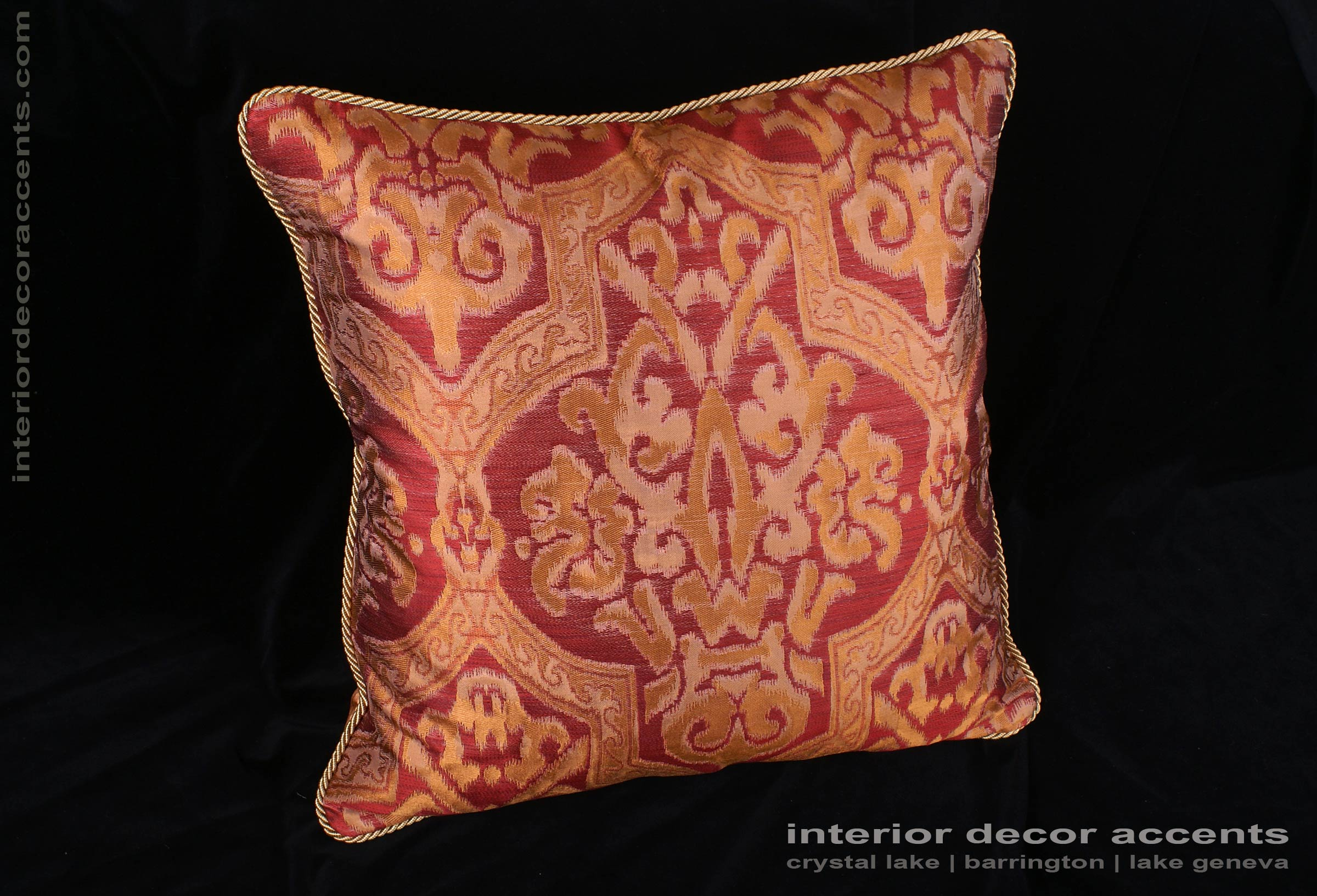 Lee Jofa Silk Damask - Kravet Velvet Large Single Decorative Pillow