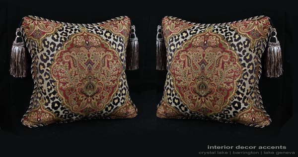 Leopardo Damask decorative designer pillows in Leopard pattern fabric with velvet backing and accent tassels