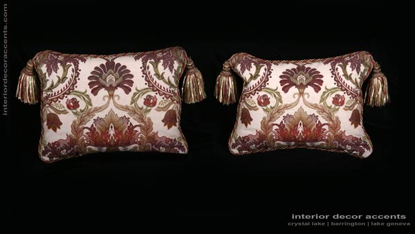 Pindler and Pindler floral pattern brocade decorative accent pillows for elegant and luxurious interior home decor accents