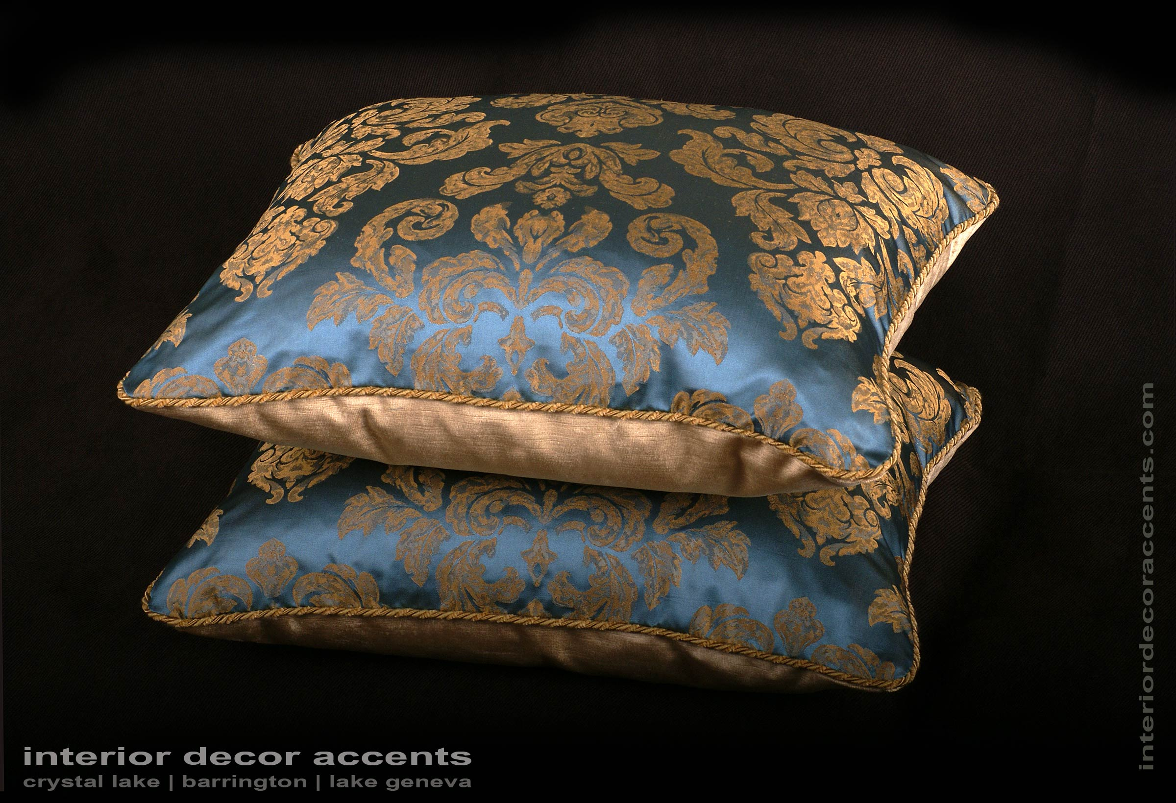 Scalamande Silk Jacquard Damask Pattern Fortuny Style Decorative Throw  Pillows For Traditional And Luxurious Interior Design