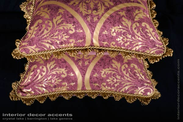 Scalamande Venezia gold printed fortuny style decorative throw pillows for traditional and luxurious interior design and home decor accents