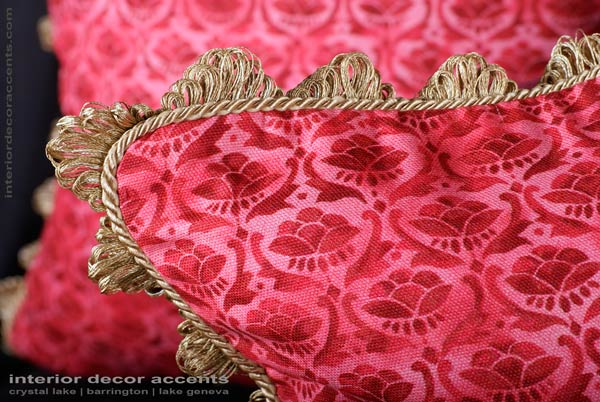 Scalamande hand printed decorative throw pillows for traditional and luxurious interior design and home decor accents