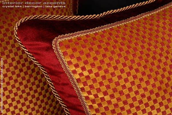 Scalamande cut velvet in orange and red and gold to create decorative accent pillows for traditional transitional contemporary and luxurious interior design and home decor accents