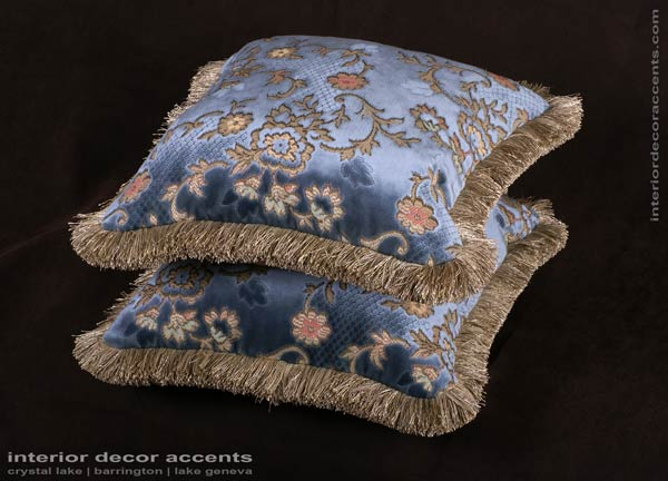 Scalamandre blue silk cut velvet decorative throw pillows for traditional and luxurious interior design and timeless home decor accents