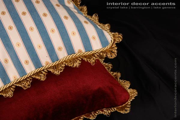 Scalamandre stripe brocade decorative throw pillows for traditional and luxurious interior design and home decor accents