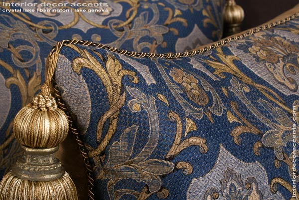 Stunning Schumacher brocade Castle Garden in blue decorative throw pillows with lee jofa backing velvet for traditional, transitional and luxury interior design and timeless home decor accents